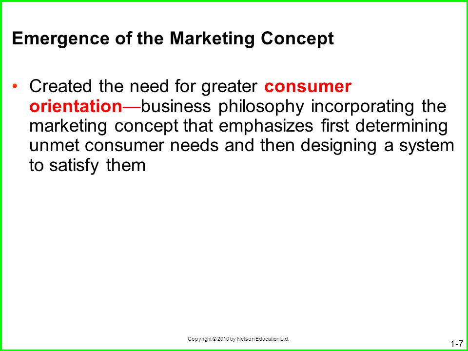 Emergence of the Marketing Concept