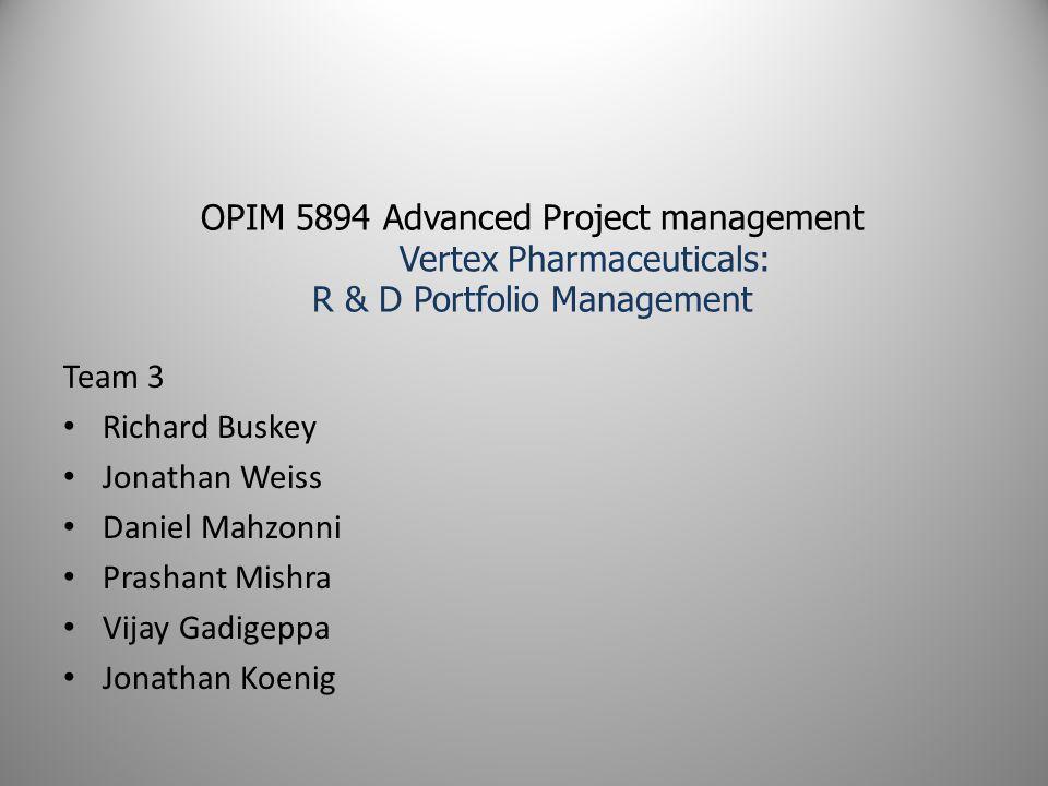 OPIM 5894 Advanced Project management