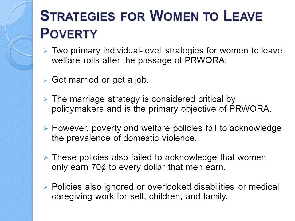 Strategies for Women to Leave Poverty