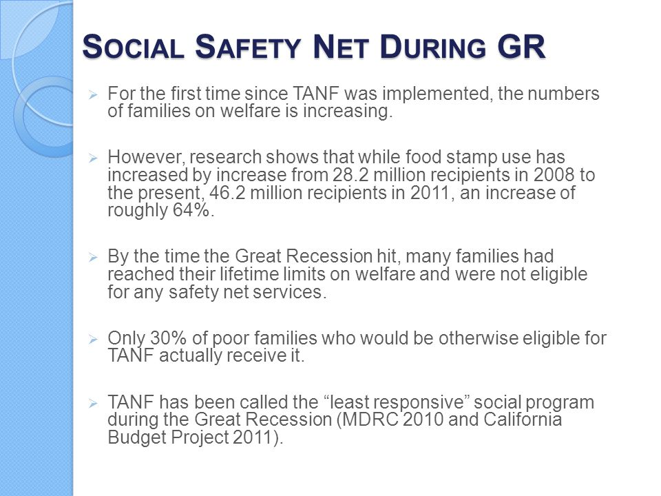 Social Safety Net During GR