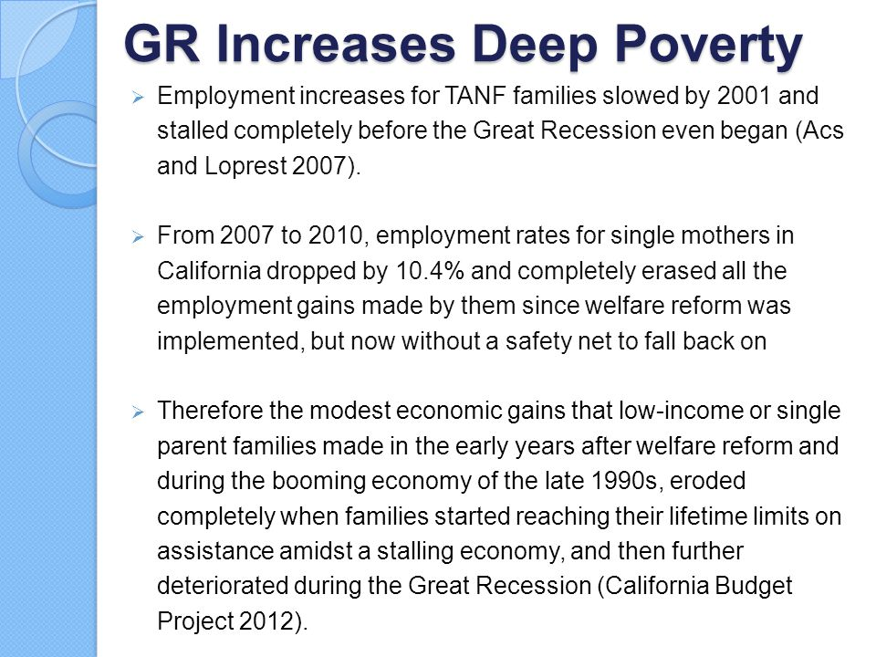 GR Increases Deep Poverty