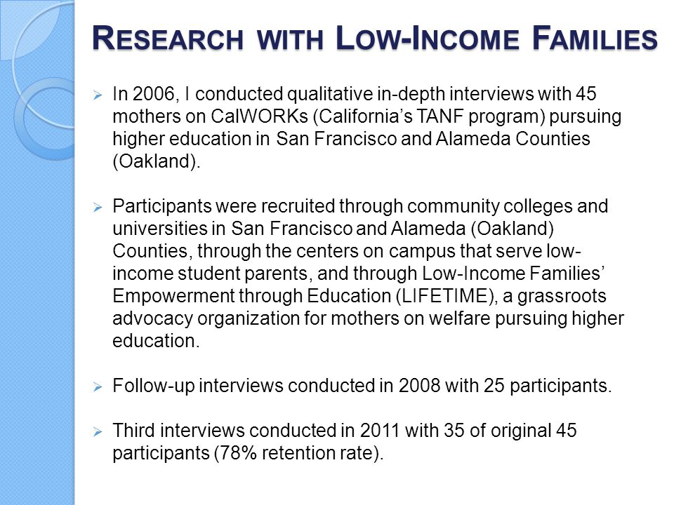 Research with Low-Income Families