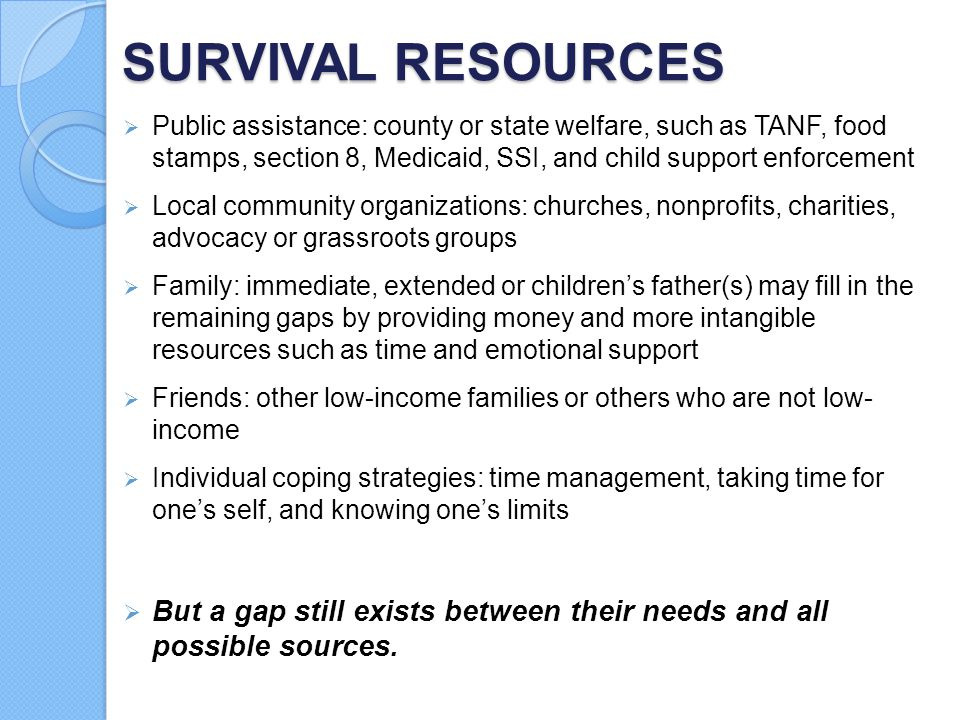 SURVIVAL RESOURCES Public assistance: county or state welfare, such as TANF, food stamps, section 8, Medicaid, SSI, and child support enforcement.