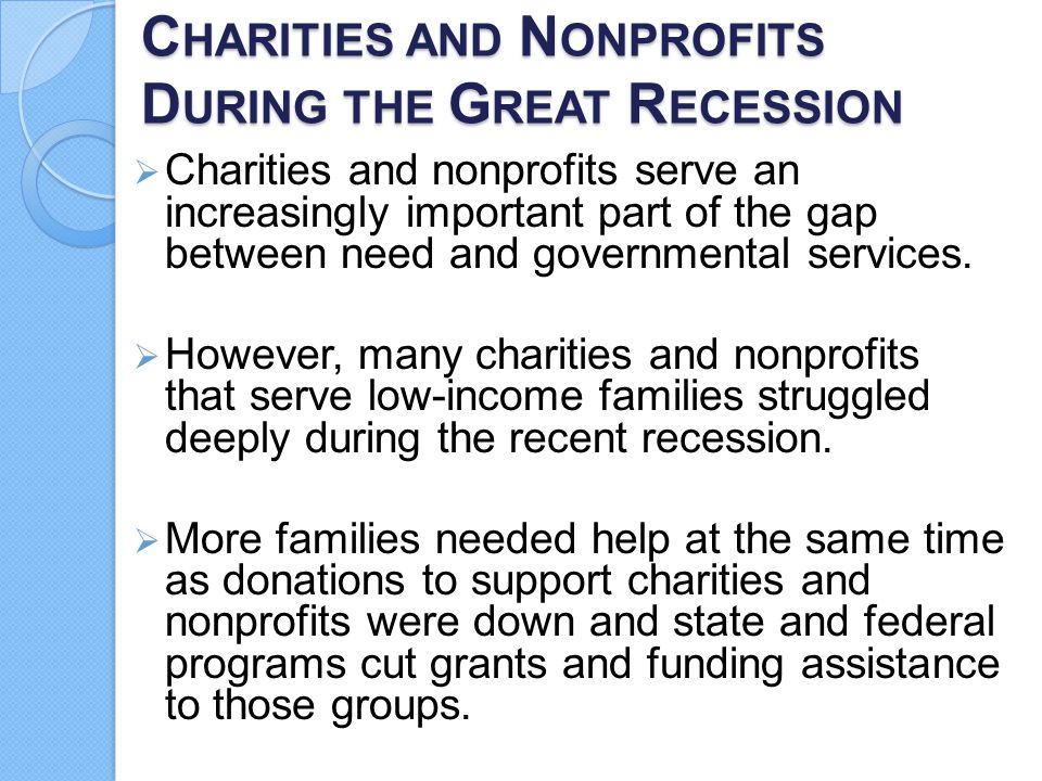 Charities and Nonprofits During the Great Recession