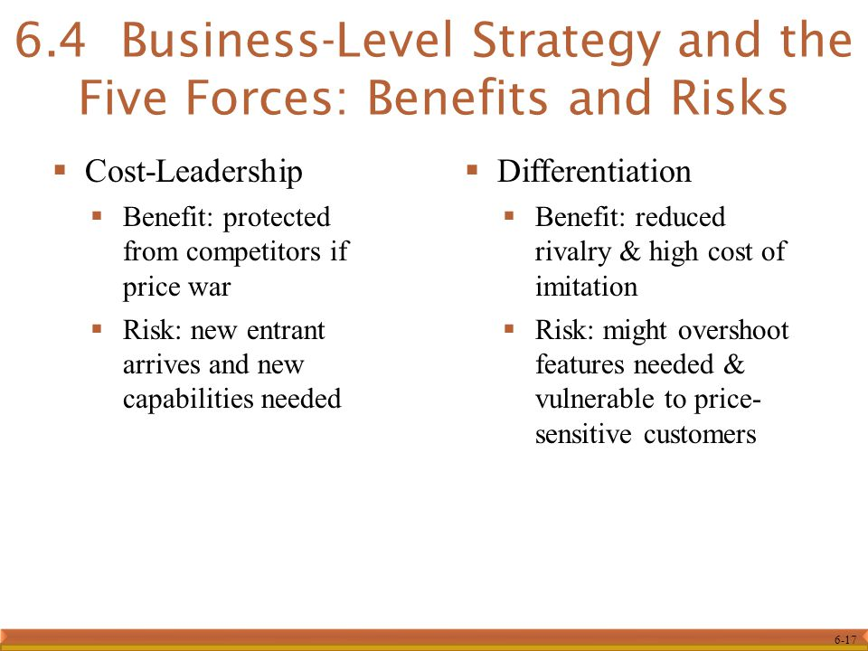 6.4 Business-Level Strategy and the Five Forces: Benefits and Risks