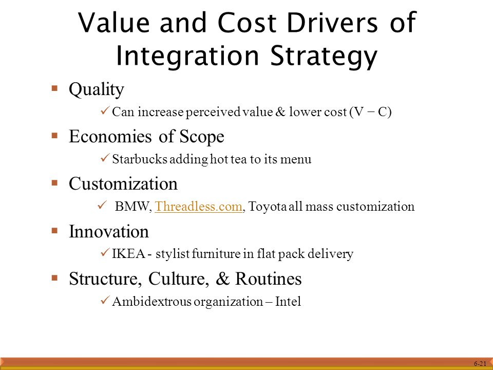 Value and Cost Drivers of Integration Strategy