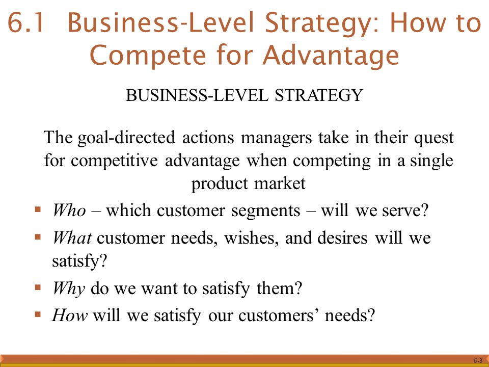 6.1 Business-Level Strategy: How to Compete for Advantage