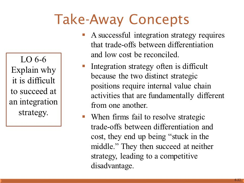 Take-Away Concepts A successful integration strategy requires that trade-offs between differentiation and low cost be reconciled.
