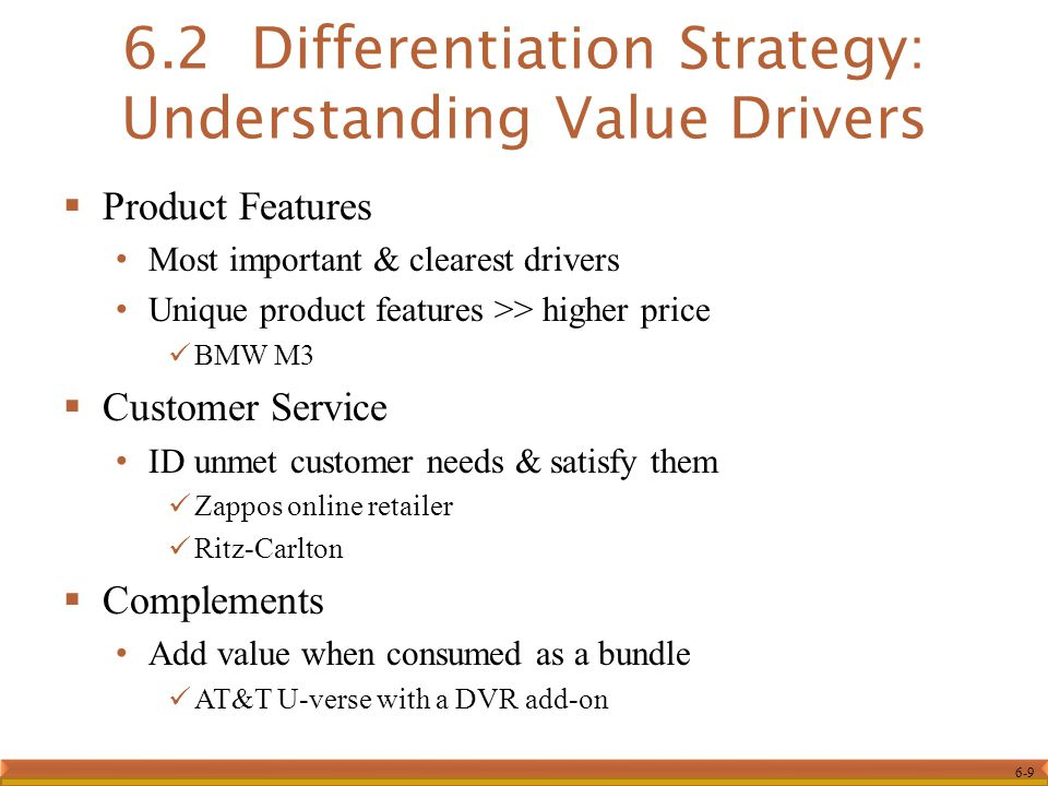6.2 Differentiation Strategy: Understanding Value Drivers