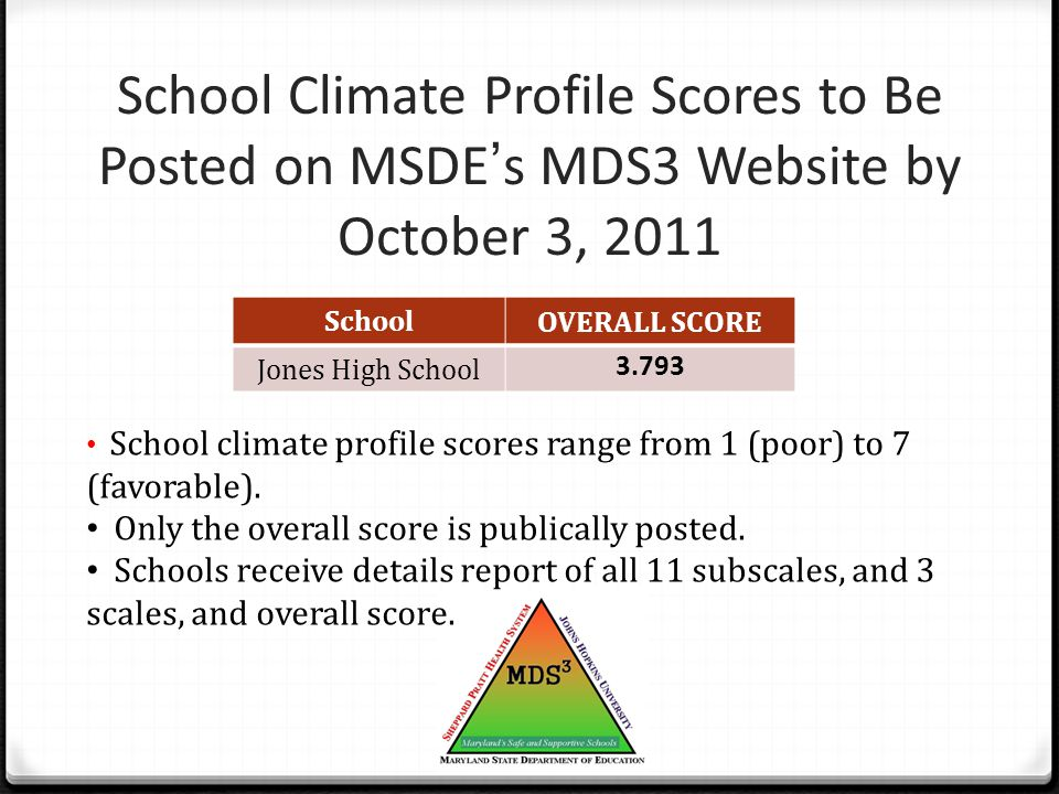 School Climate Profile Scores to Be Posted on MSDE's MDS3 Website by October 3, 2011