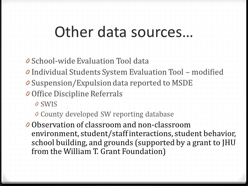 Other data sources… School-wide Evaluation Tool data