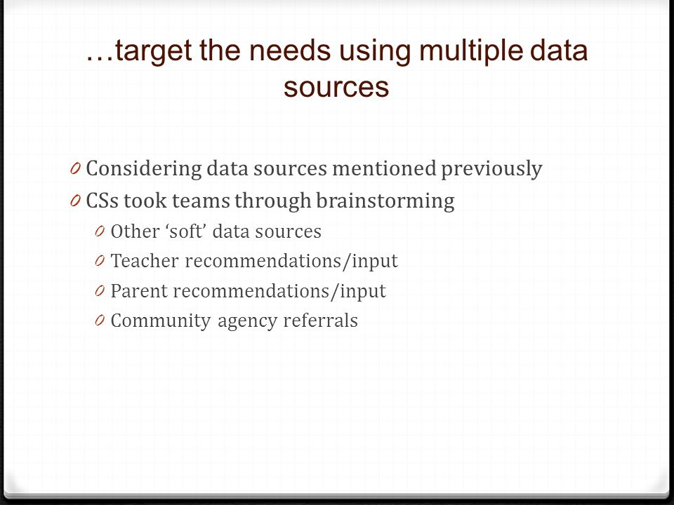 …target the needs using multiple data sources