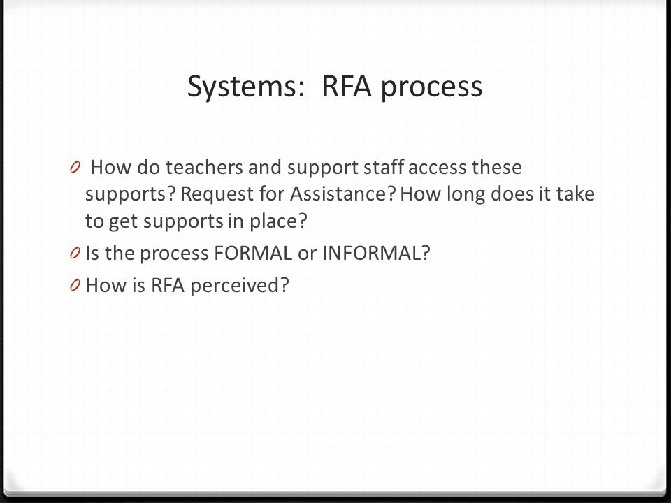 Systems: RFA process