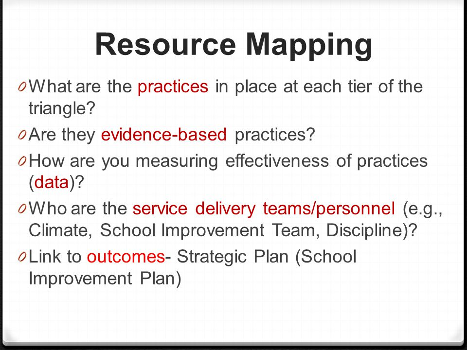 Resource Mapping What are the practices in place at each tier of the triangle Are they evidence-based practices