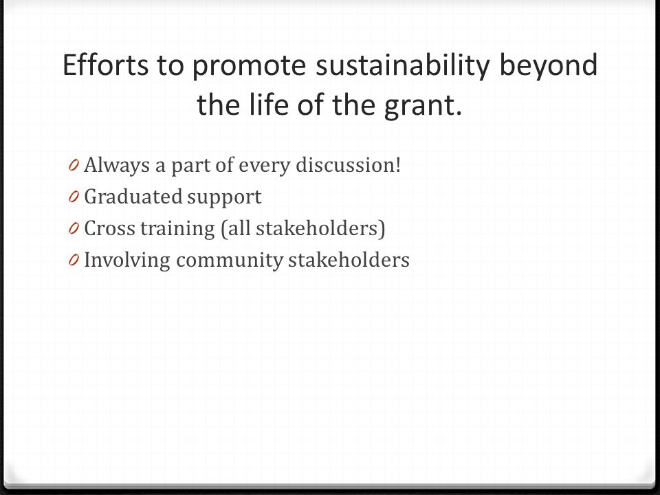 Efforts to promote sustainability beyond the life of the grant.