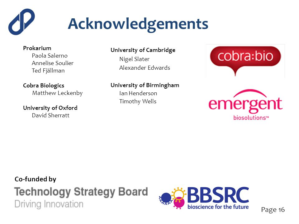 Acknowledgements Co-funded by Page 16 Prokarium