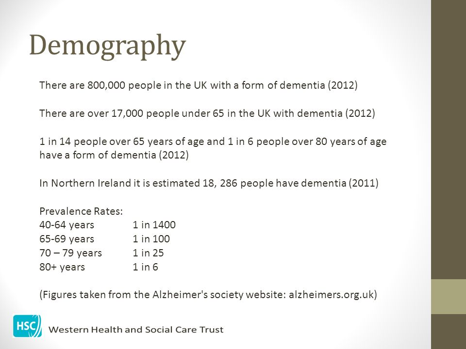 Demography There are 800,000 people in the UK with a form of dementia (2012) There are over 17,000 people under 65 in the UK with dementia (2012)
