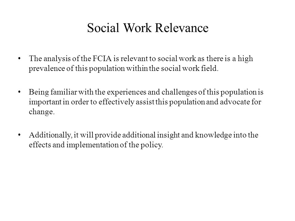 Social Work Relevance