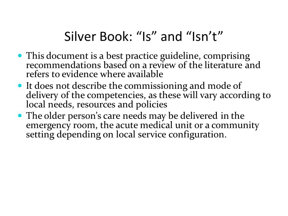 Silver Book: Is and Isn't