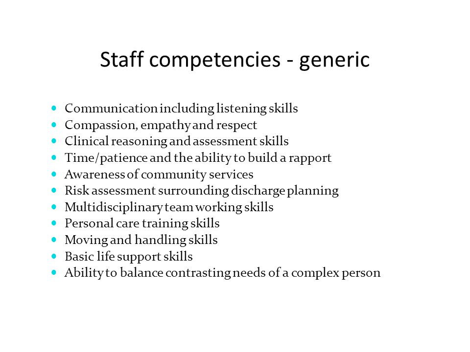 Staff competencies - generic