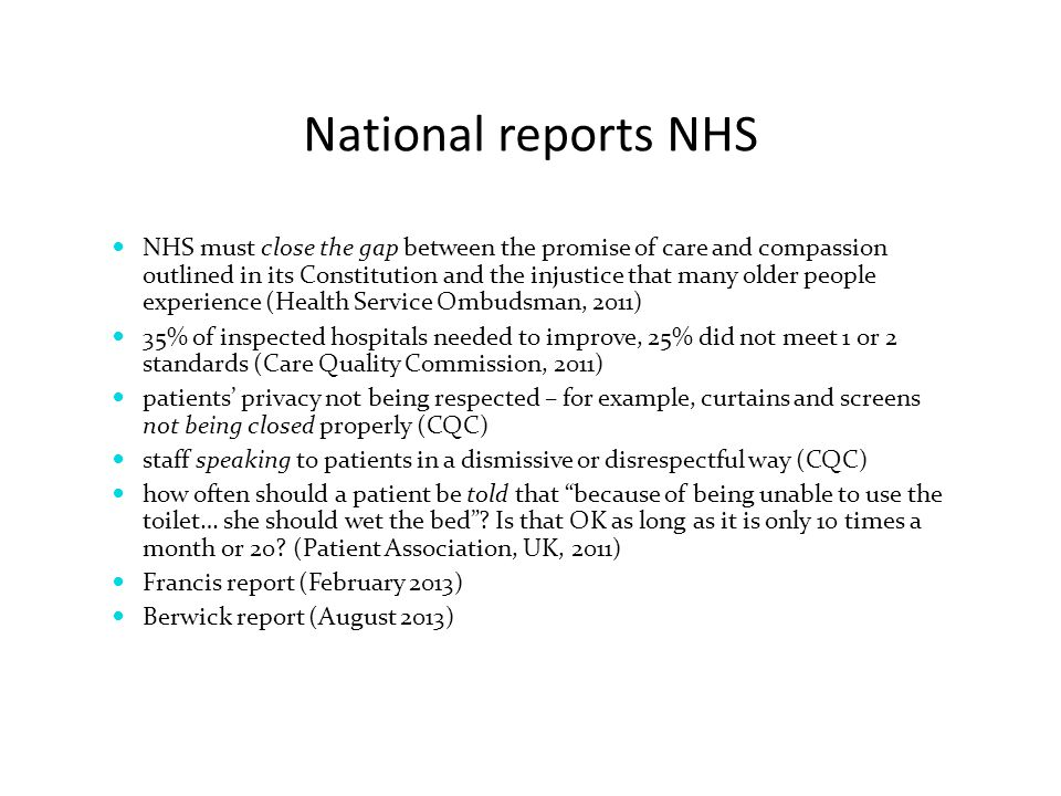 National reports NHS