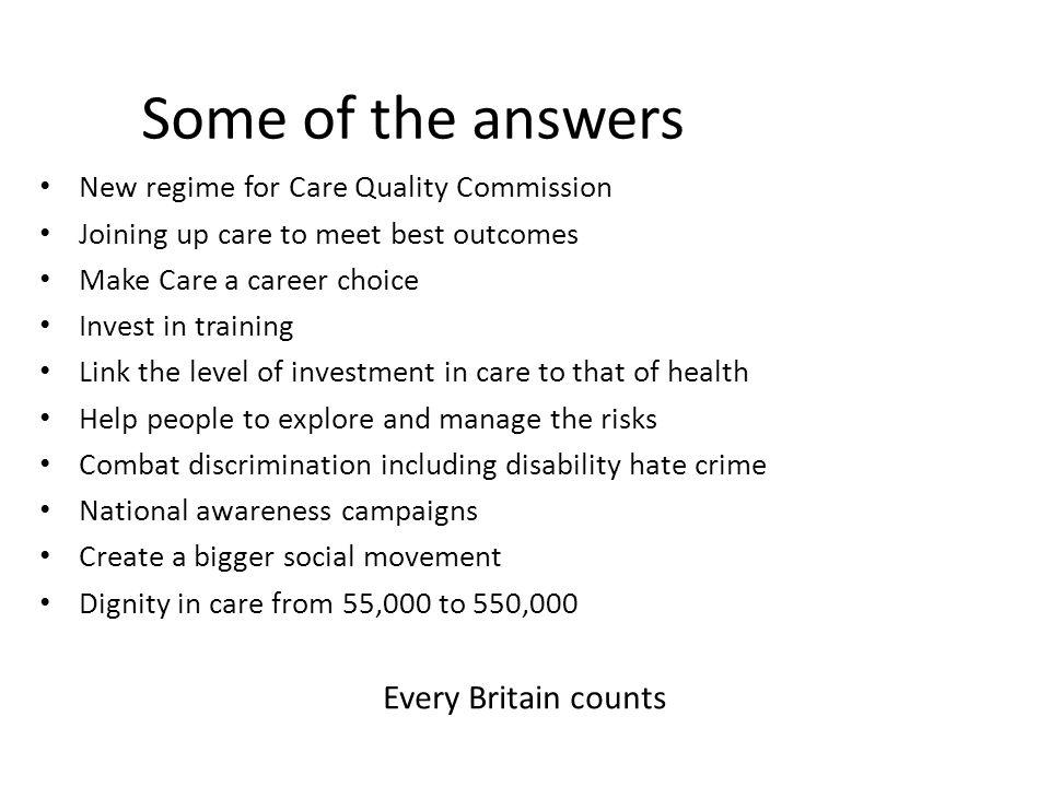 Some of the answers Every Britain counts