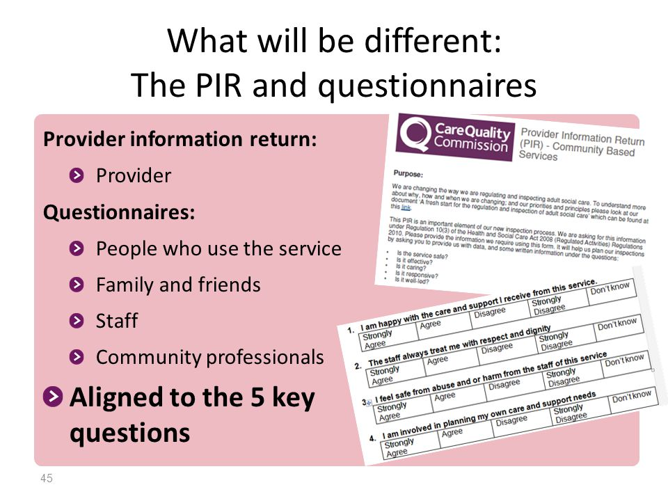 What will be different: The PIR and questionnaires