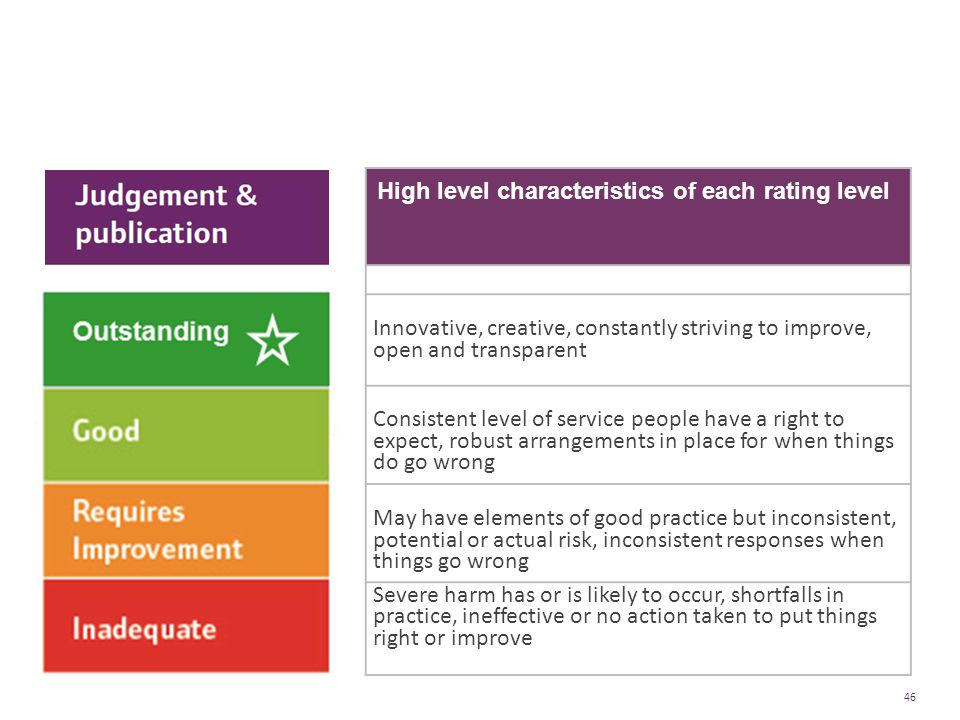 Four point scale High level characteristics of each rating level
