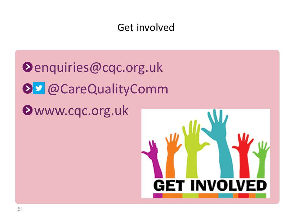 Get involved enquiries@cqc.org.uk @CareQualityComm www.cqc.org.uk