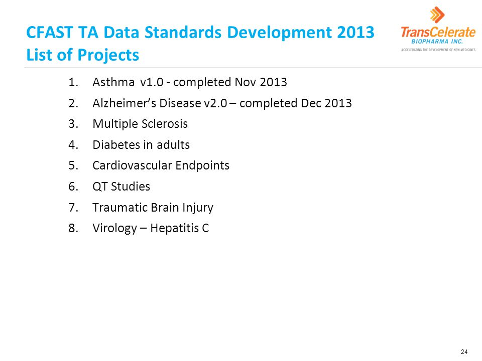 CFAST TA Data Standards Development 2013 List of Projects