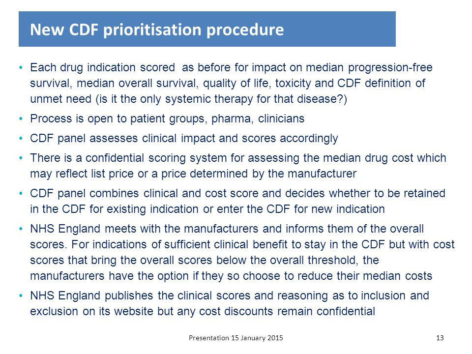 New CDF prioritisation procedure