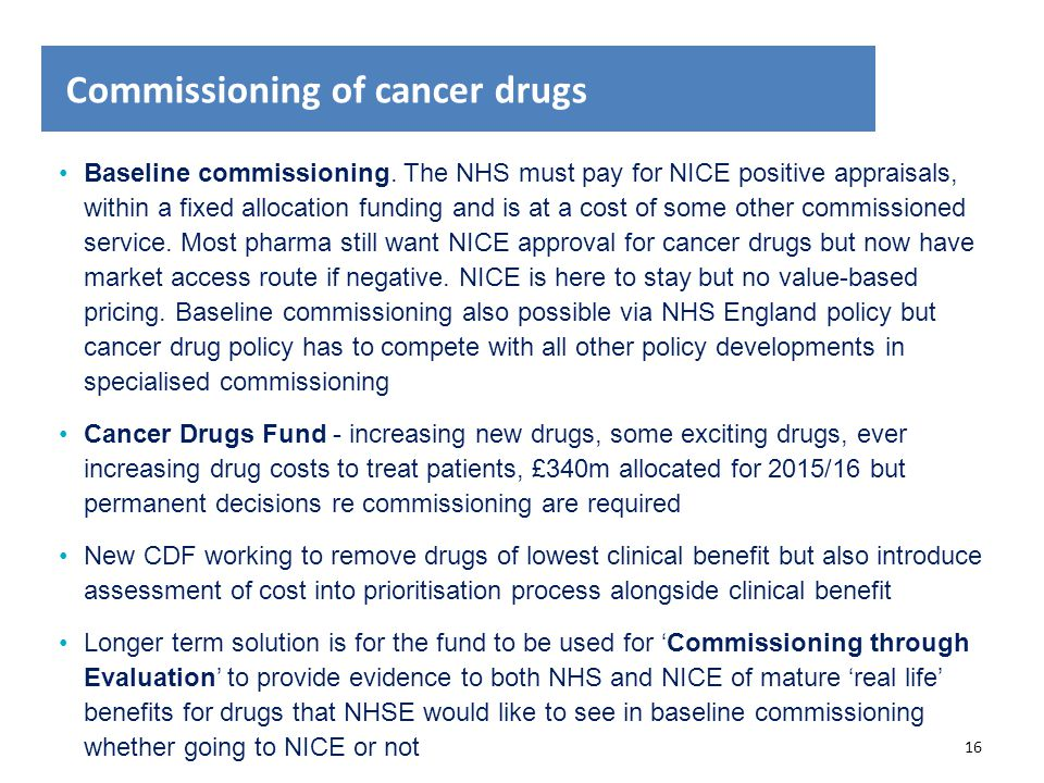 Commissioning of cancer drugs