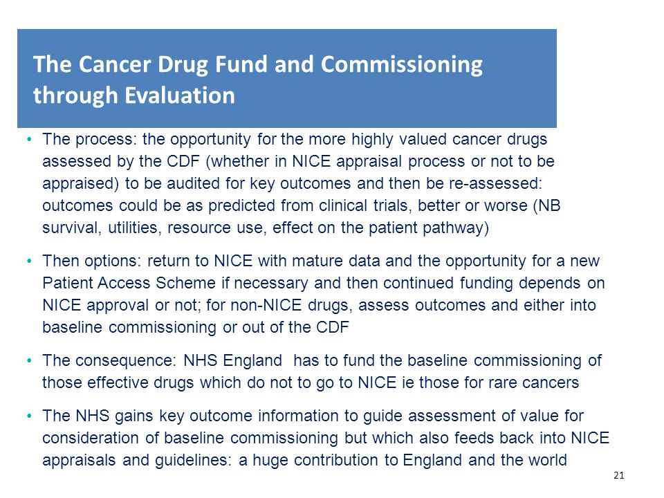 The Cancer Drug Fund and Commissioning through Evaluation