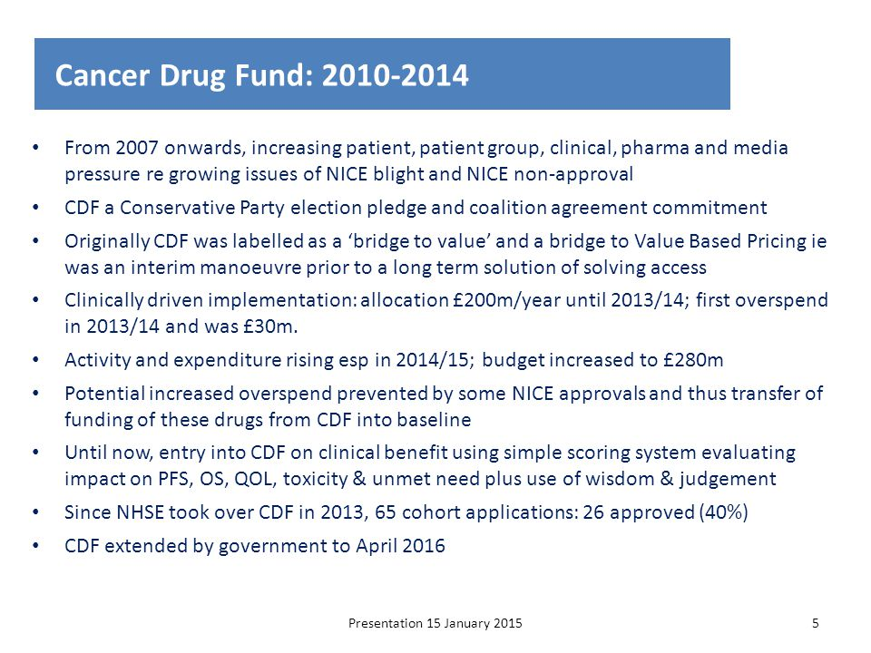 Cancer Drug Fund: 2010-2014