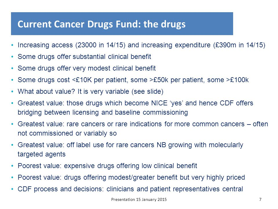 Current Cancer Drugs Fund: the drugs