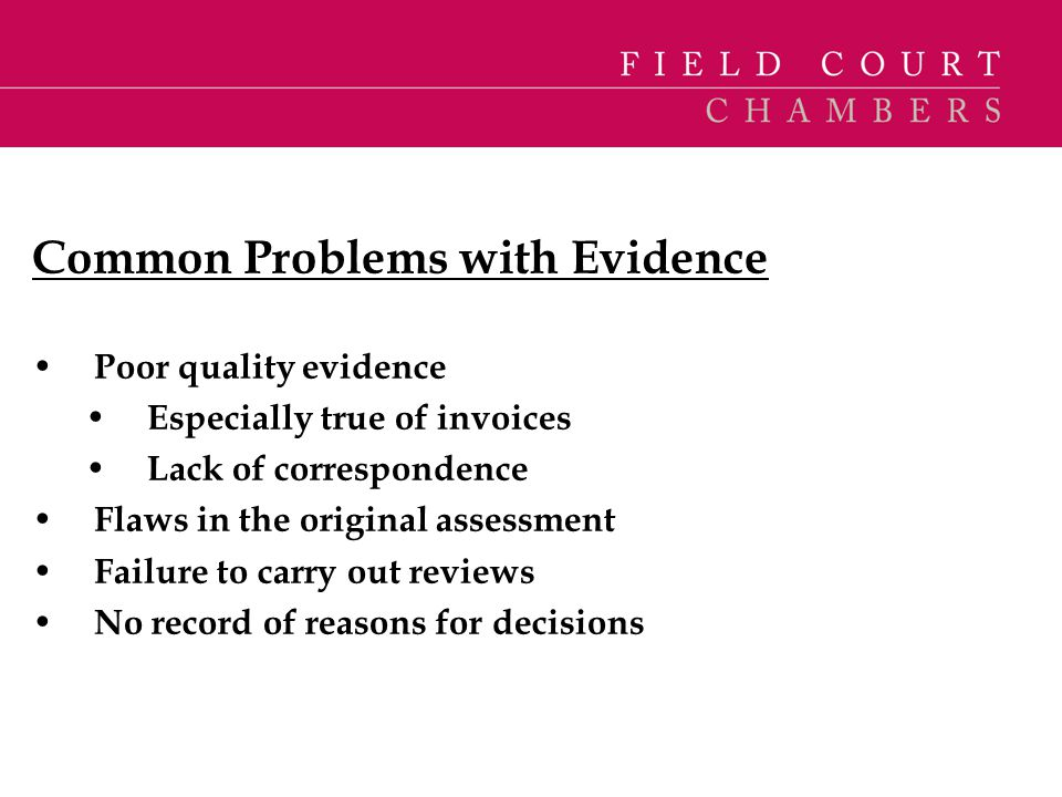 Common Problems with Evidence