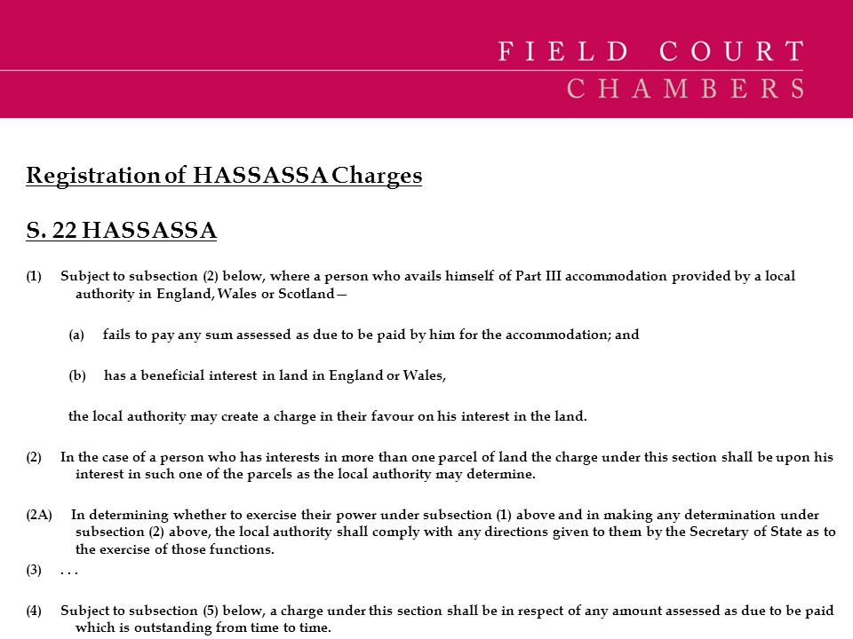 Registration of HASSASSA Charges S. 22 HASSASSA