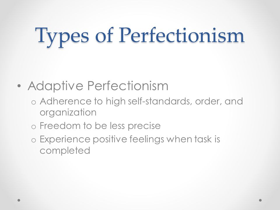 Types of Perfectionism