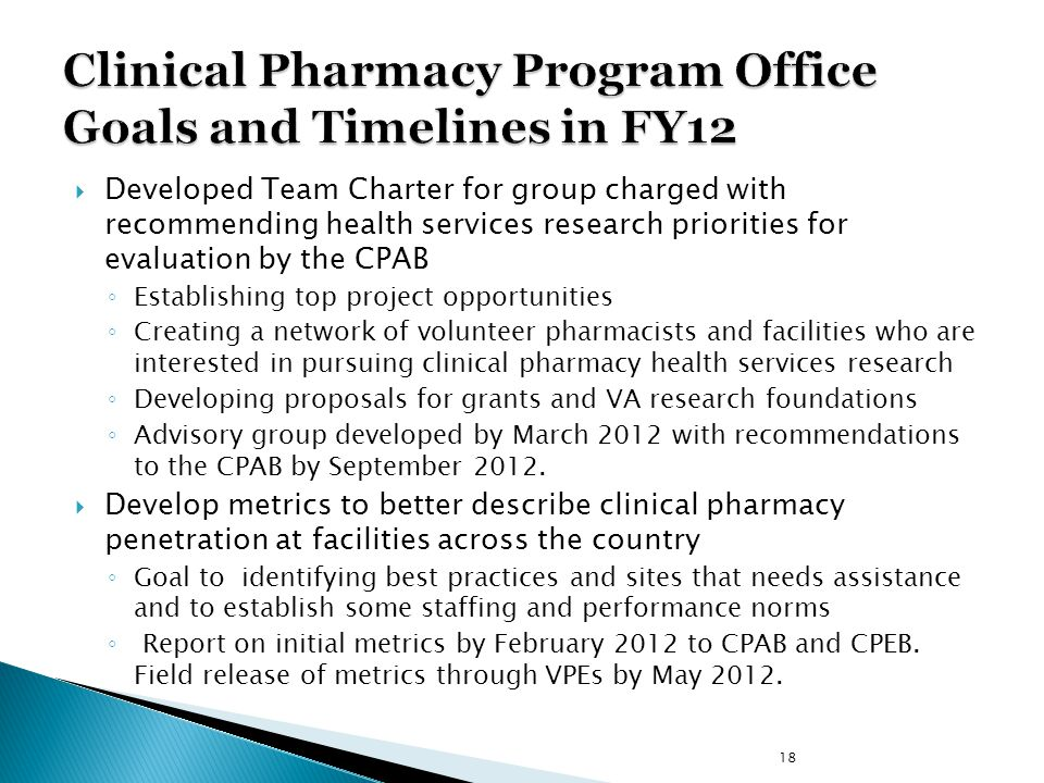 Clinical Pharmacy Program Office Goals and Timelines in FY12