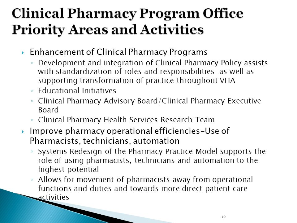 Clinical Pharmacy Program Office Priority Areas and Activities