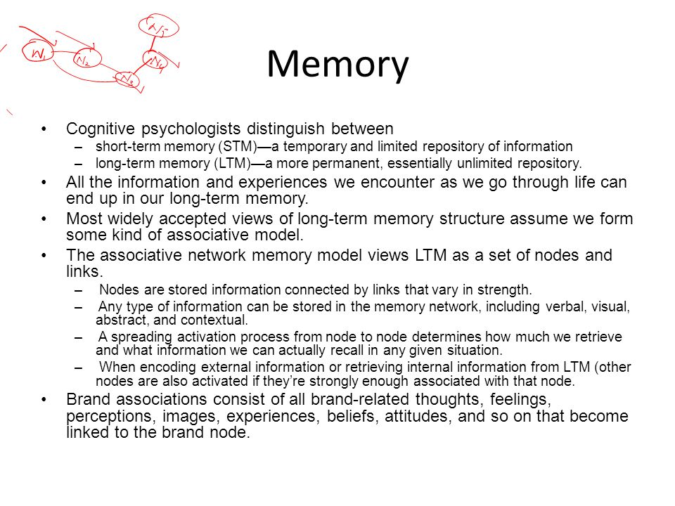Memory Cognitive psychologists distinguish between
