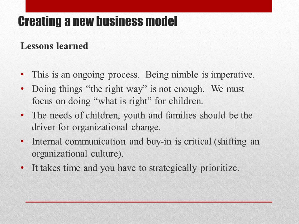 Creating a new business model