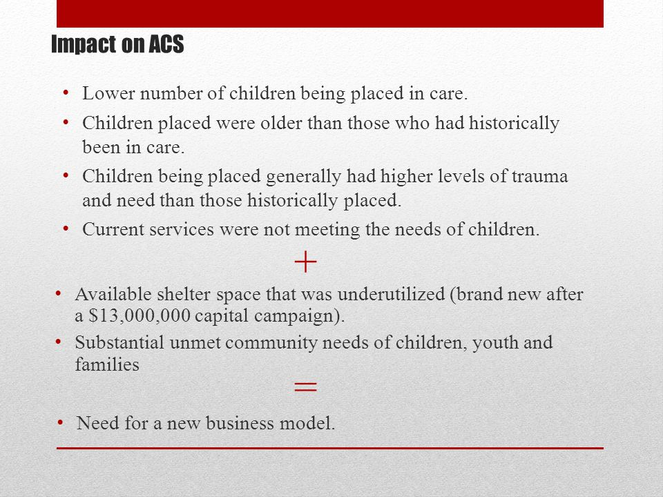 + = Impact on ACS Lower number of children being placed in care.