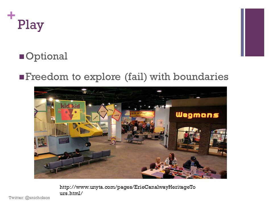 Play Optional Freedom to explore (fail) with boundaries
