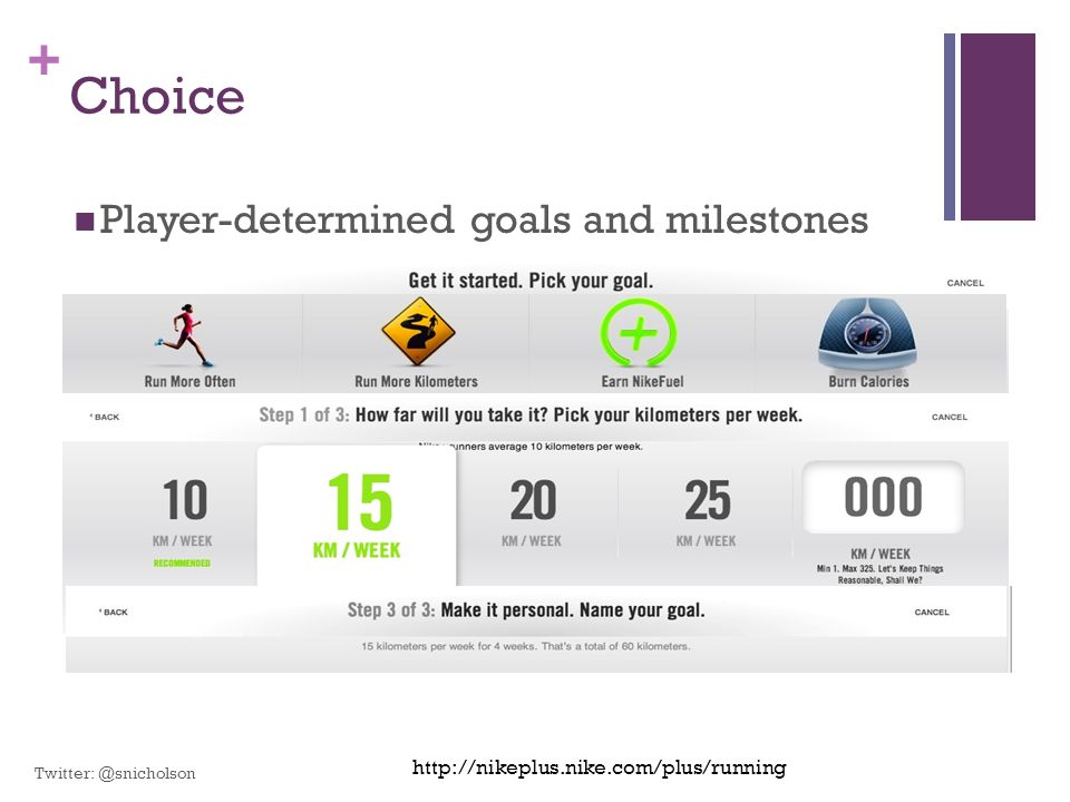 Choice Player-determined goals and milestones