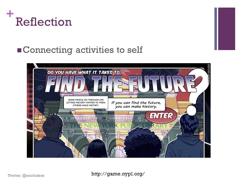 Reflection Connecting activities to self http://game.nypl.org/