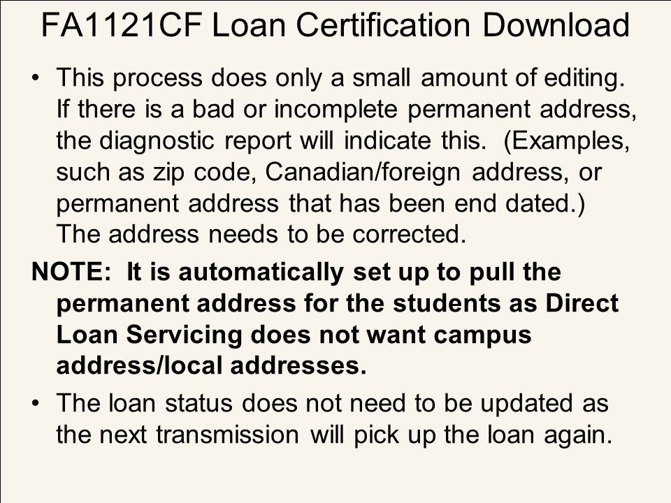 FA1121CF Loan Certification Download
