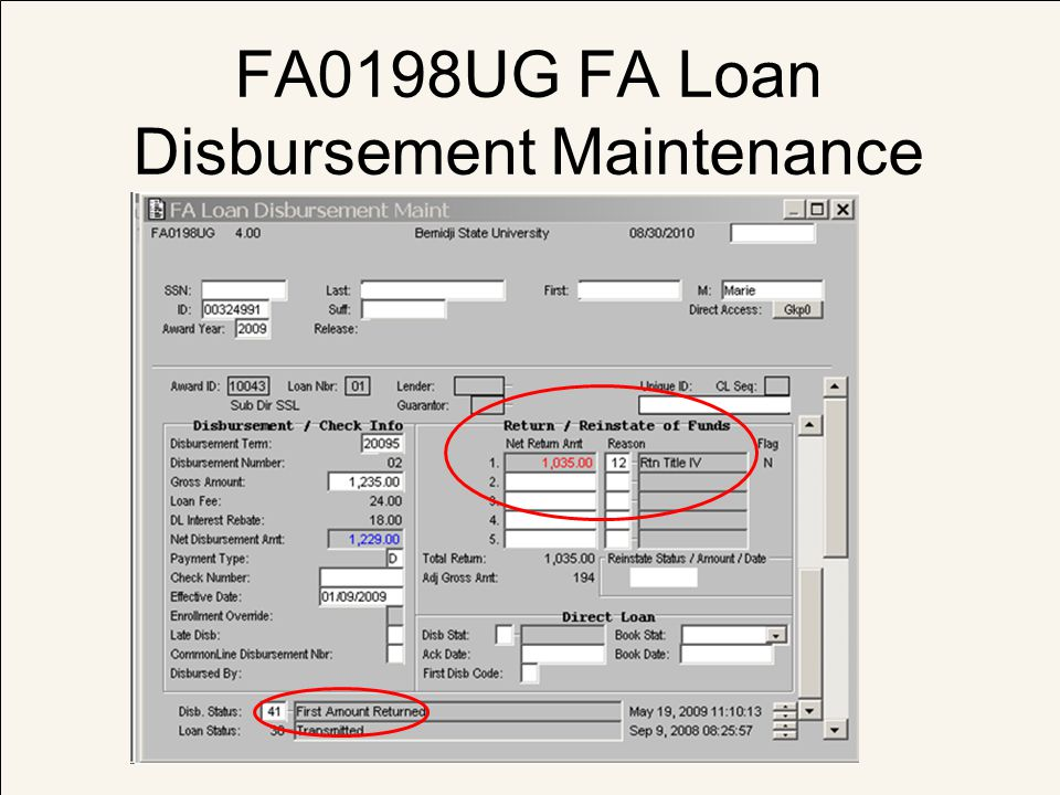 FA0198UG FA Loan Disbursement Maintenance