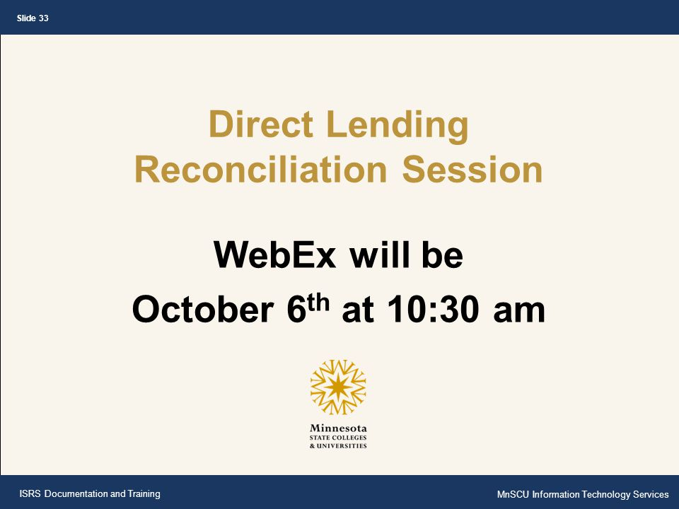 Direct Lending Reconciliation Session