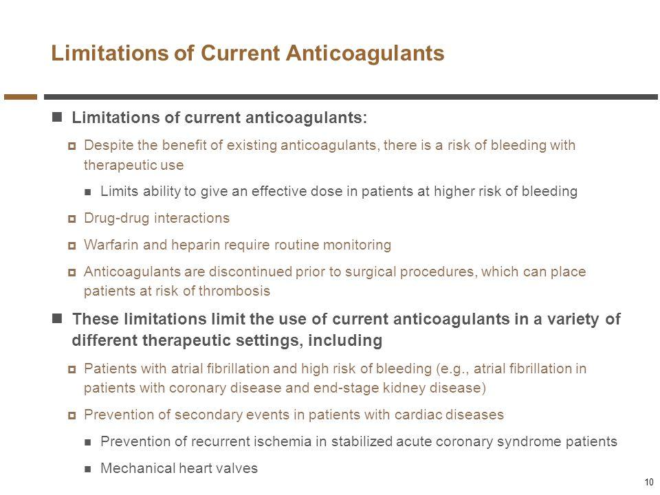 Limitations of Current Anticoagulants